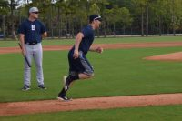 LAKELAND, Fla., - Detroit Tigers Prospect Joey Pankake sprints to first base during practice at spring training.