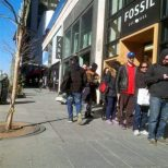Line has stretched out to Zara, the halfway point between Yonge and Bay.