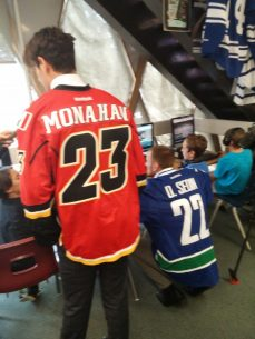 Sean Monahan of the Calgary Flames was another visitor to the school.