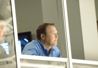 Martin Brodeur watching the strong goaltending performances from both teams.