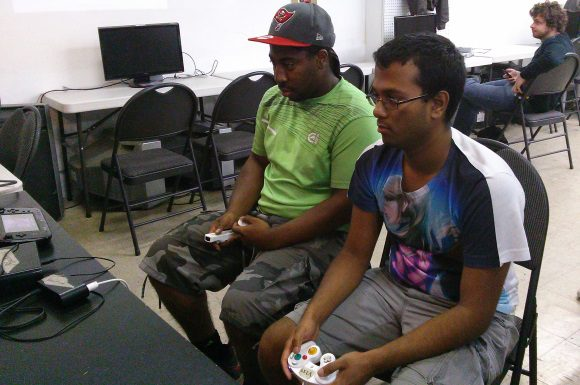 Grandison-Vargas, left, faces off against Vishal Balaram, right, in the grand final of the weekly tournament.