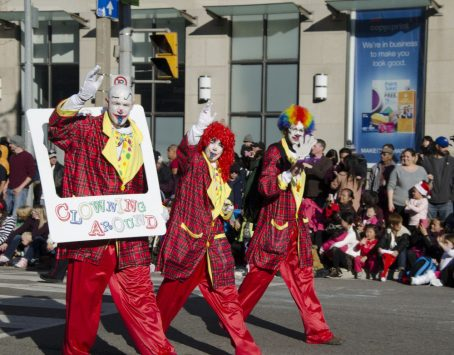 At the Santa Claus Parade, you are sure to find a bunch of clowns.