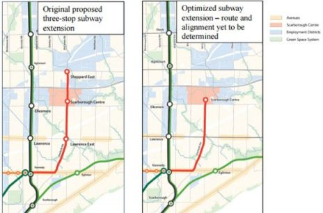 The updated Scarborough subway plan eliminates two stops and will be a direct express from Kennedy Station to Scarborough Town Centre.