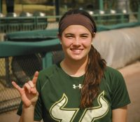 University of South Florida outfielder Astin Donovan shows her Bulls pride as she enjoys her sophomore season in Tampa.