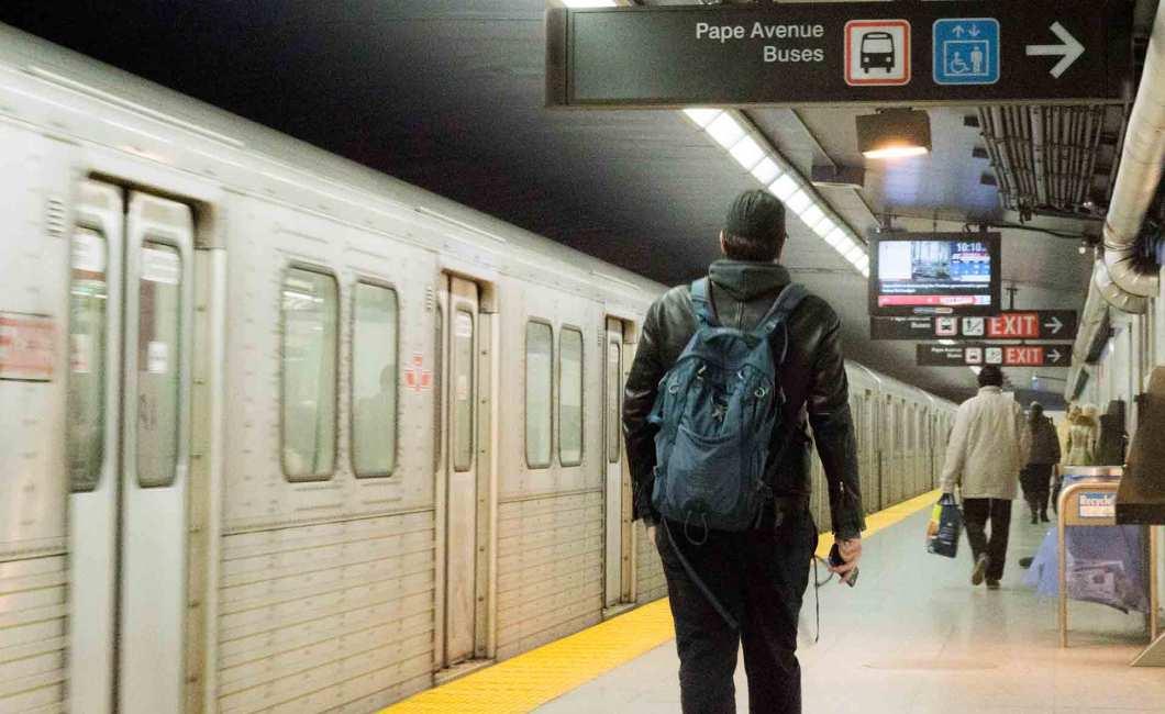 Pape subway station platform