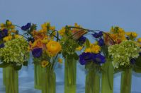 Small vases with careful flower assortments sit upon a blue table.