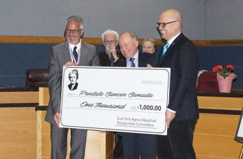East York Foundation presents cheque to Prostate Cancer Canada.