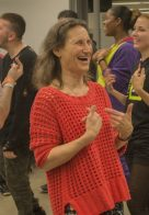 Lynn Himmelman helps everyone unwind with laughter yoga...