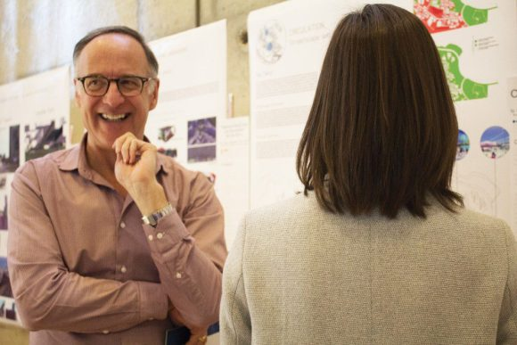 """Don Valley West MP Rob Oliphant visits the """"Thorncliffe Park's Stories"""" exhibit at the Jenner Jean-Marie Community Centre on March 19."""