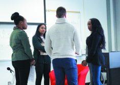 Stacy-Ann Buchanan meets Centennial College students.