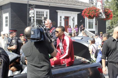 Olympic sprinter Andre De Grasse is the centre of attention at a parade Sunday in Markham, Ont. in his honour.