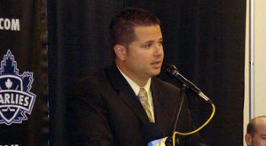 Jason Nobili, at a press conference while serving as head coach of the Reading Royals in 2008.