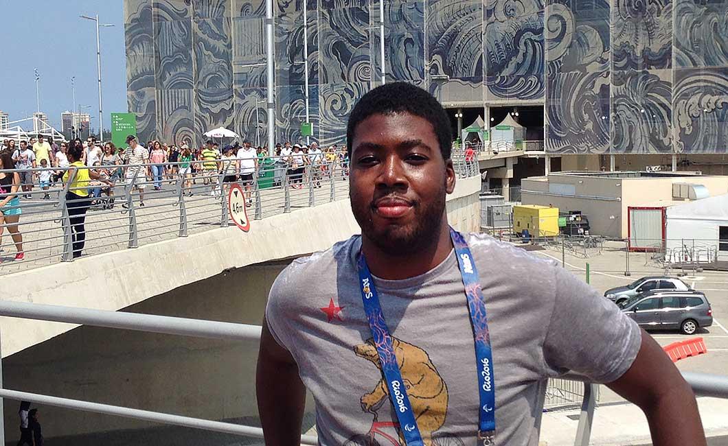 Tristan Garnett outside the Aquatic Olympic Stadium in Rio