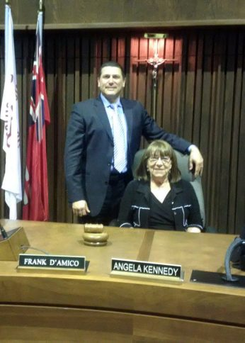 Angela Kennedy with vice-chair Frank D'Amico shortly after the voting.