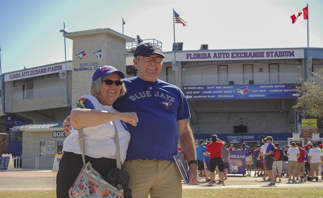 Mr. and Mrs. Brenton from Brantford outside Florida Auto Exchange Stadium