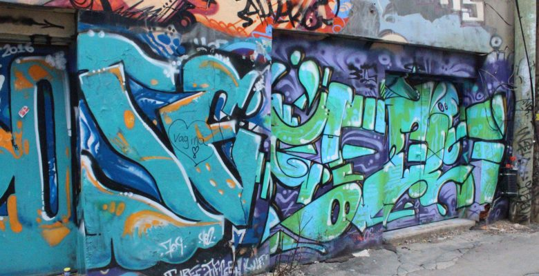 wall covered in graffiti