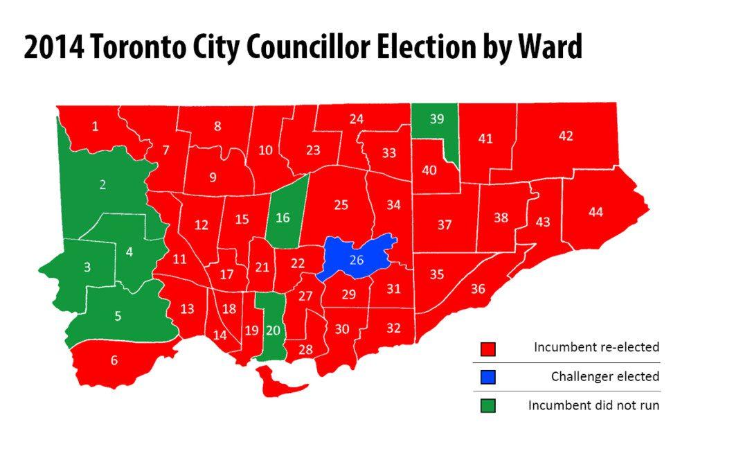 map of 2014 Toronto municipal election results