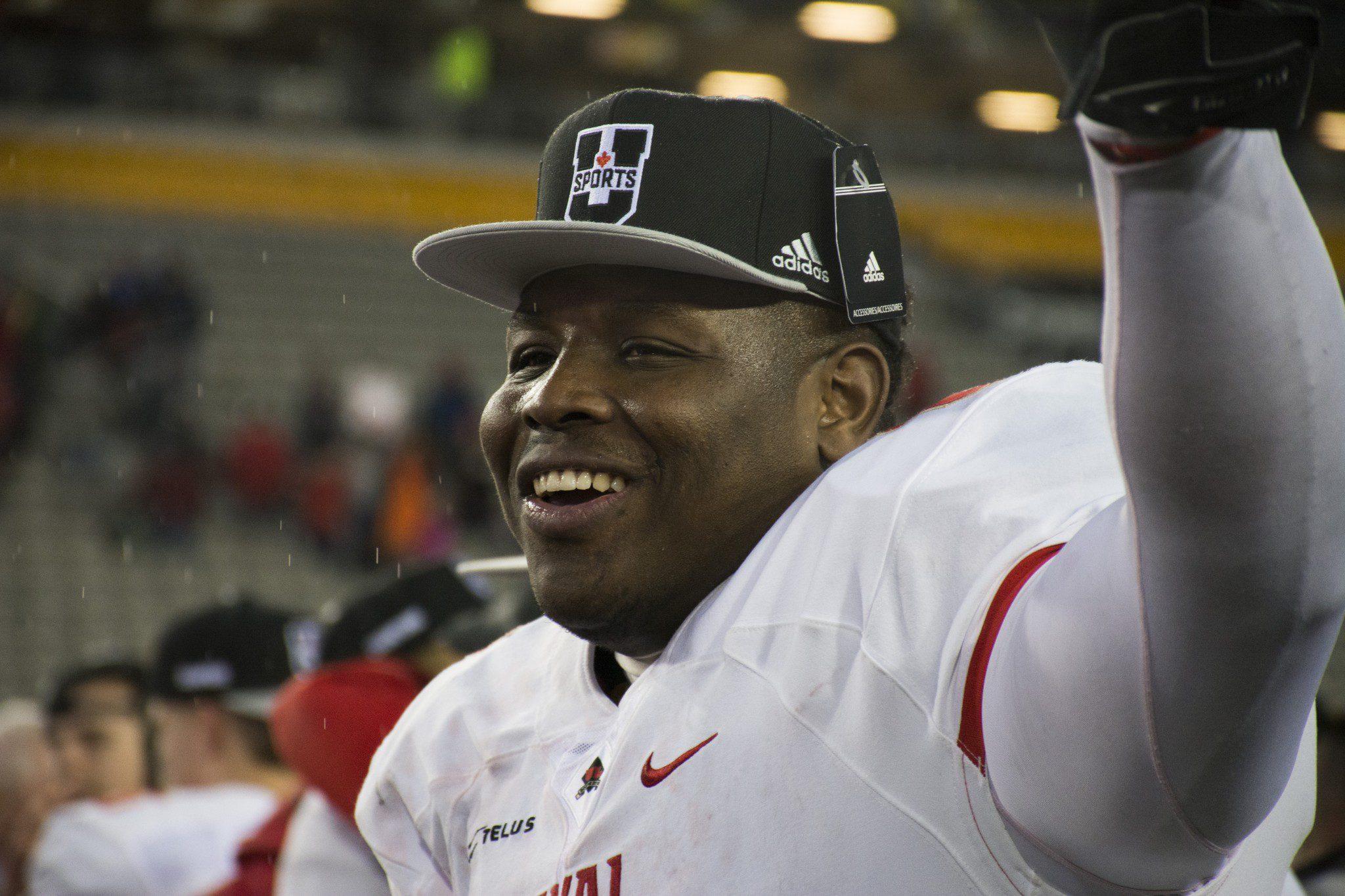 Laval player celebrates