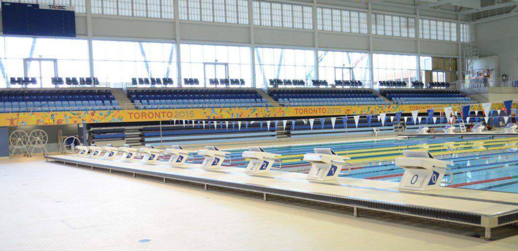 swimming pool lanes inside Pan Am pool building