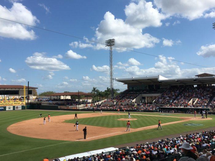 spring training baseball game at Joker Marchant Stadium