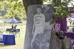 Terry Fox ran 42 kilometres (26 miles) a day through Quebec and Ontario. However, on September 1st, after 143 days and 5,373 kilometres Terry was forced to stop running outside of Thunder Bay, Ontario because cancer had appeared in his lungs.