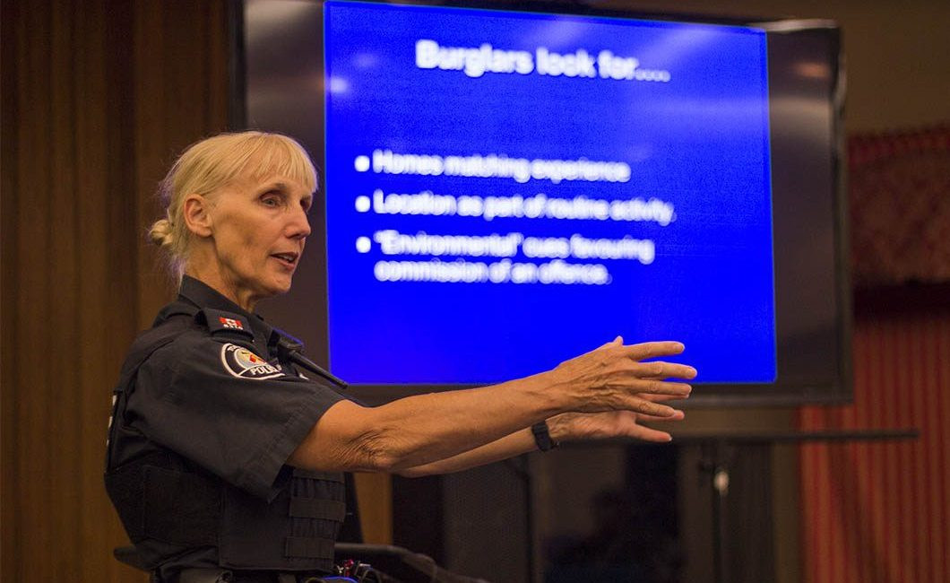 Constable Ingrid Hannah speaking about home security