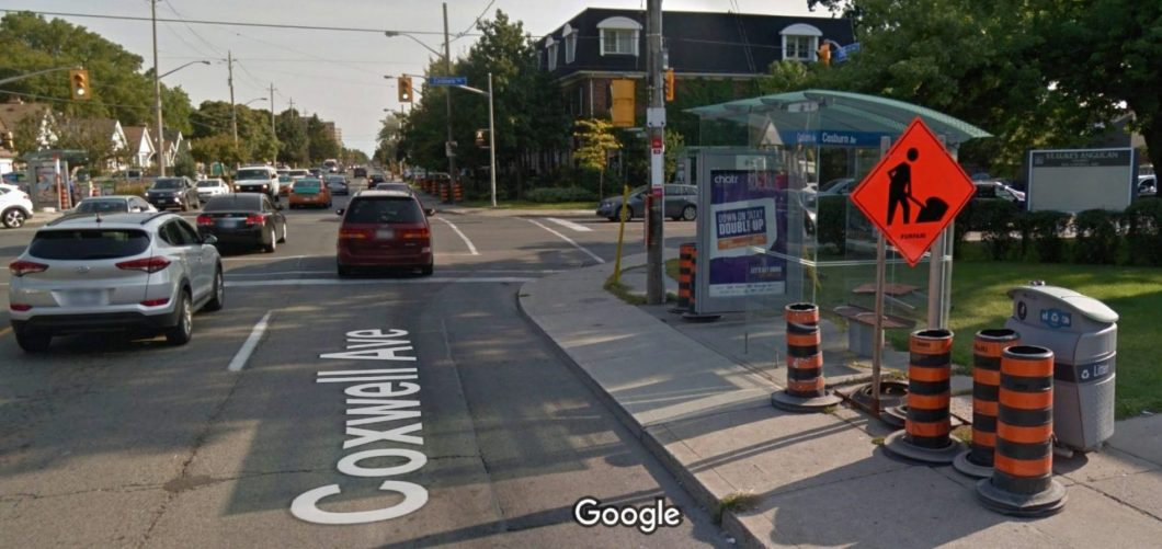 Coxwell and Cosburn avenues intersection where stabbing took place.