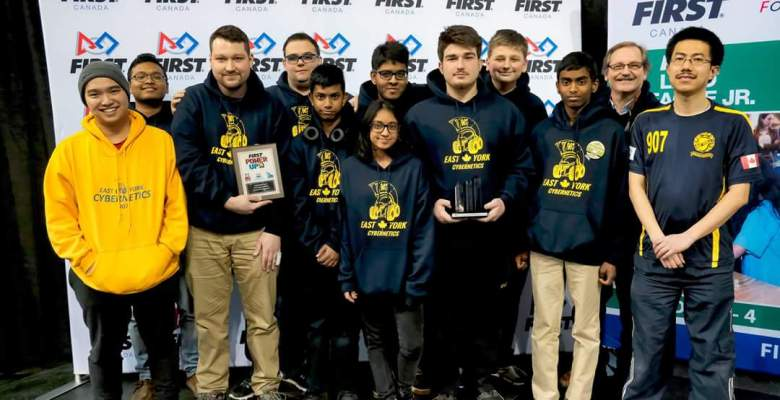 The East York Collegiate Institute robotics team gathered for a celebratory photo after winning the Quality Award at a FIRST Robotics competition at Ryerson University.
