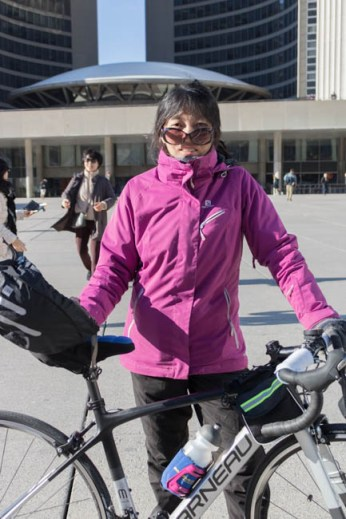 Kim Luu, 40, at the die-in held at city hall on March 26, 2018. She wants more bike lanes and heavier penalties.