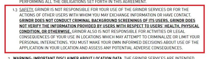 Screenshot from Grindr's Terms of Service