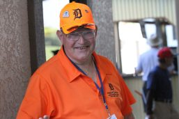 A Detroit Tigers volunteer flashes a smile to the camera. This particular volunteer has been volunteering with the Detroit Tigers organization for 10 years. (Nikolas Marsiglio photo)