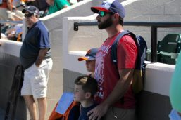 A father and his two boys patiently wait in the shade. The little boy in the Tigers hat would later supply the rosin bag to the pitcher's mound. (Nikolas Marsiglio photo)