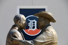 A statue of George Jenkins and Joker Marchant is on display at the front of Publix Field at Joker Marchant Stadium since its renovation. (Nikolas Marsiglio photo)