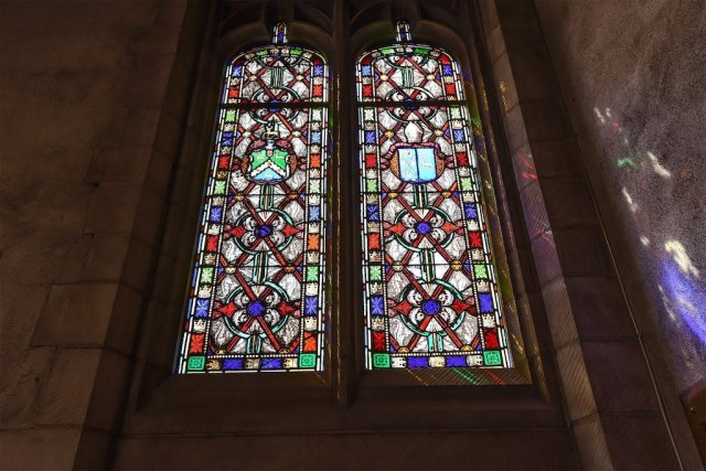 Stained glass windows in the chapel