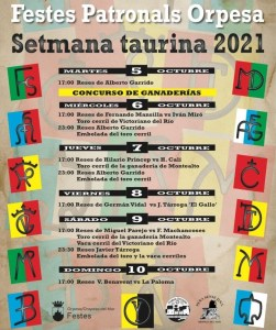 TOROS ORPESA DEL 5 AL 10 OCTUBRE 2021