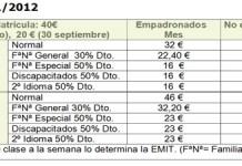 Precios Escuela Municipal de Idiomas 2011/12