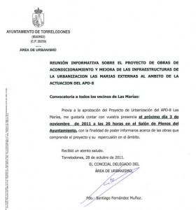 Reunión informativa sobre el proyecto de obras de Las Marías - Torrelodones