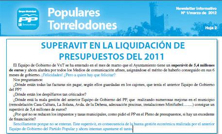 Newsletter de Populares Torrelodones Nº1 Marzo 2012