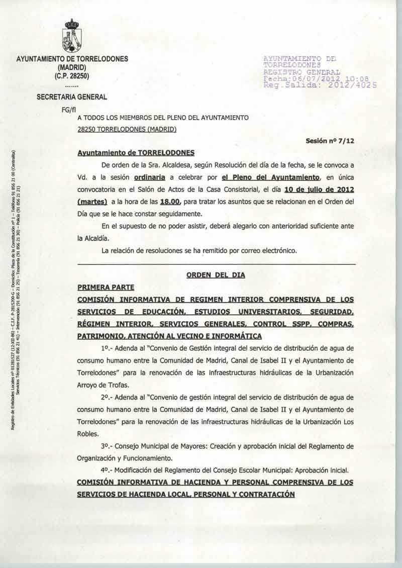 Orden del día del Pleno ordinario del Ayuntamiento de Torrelodones del 10 de julio 2012