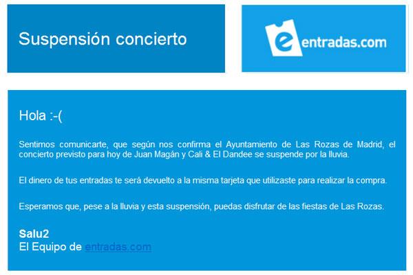 Concierto Suspendido en Las Rozas el 28/09/2012