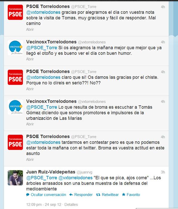 Discusión en Twitter a raíz de las declaraciones de Tomás Gómez sobre VxT