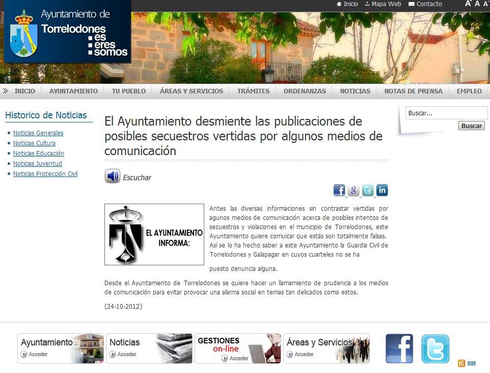 Nota del Ayuntamiento de Torrelodones 23-10-2012