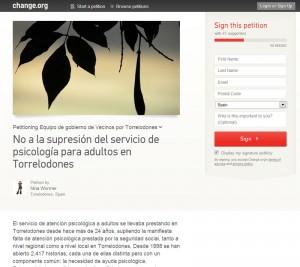 """Petición: """"No a la supresión del servicio de psicología para adultos en Torrelodones"""""""