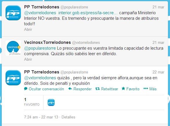 Nota de Prensa del Ayto. de Torrelodones, en la que el PP local acusa de un uso partidista de las fuerzas de seguridad