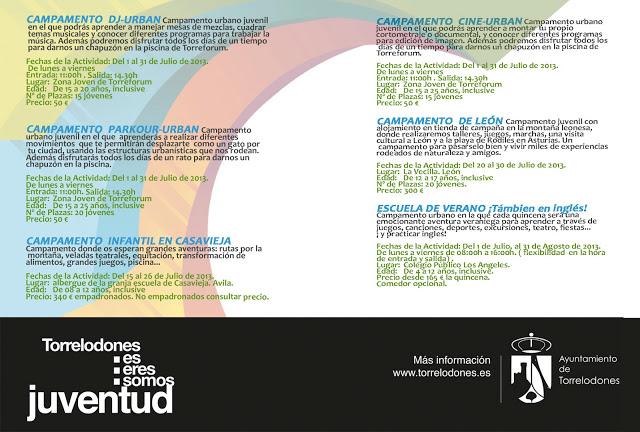 Campamentos de verano 2013 en Torrelodones organizados por la Concejalía de Juventud
