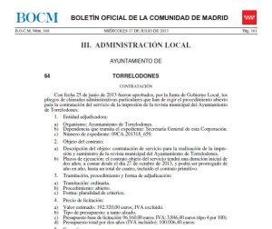 Anuncio de Licitación de la impresión de la Revista Municipal de Torrelodones (recorte parcial)