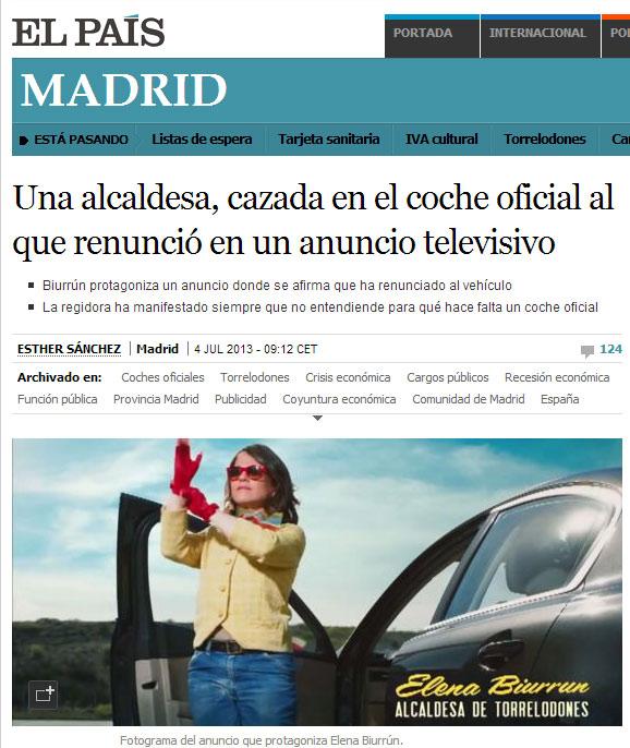 El País desmiente que la alcaldesa de Torrelodones no utilice coche oficial