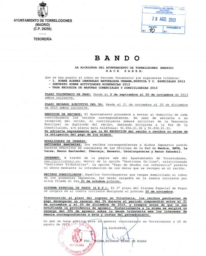 Bando IBI, IAE y Tasas Basuras, Torrelodones 2013