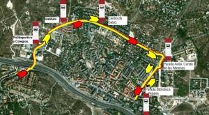 Recorrido líneas 4 y 5 (ida) de Julián de Castro durante las fiestas de Torrelodones agosto 2013