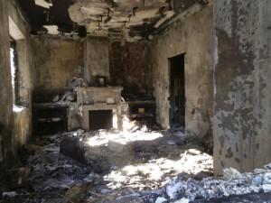 Estado del salón tras el incendio y explosión